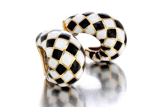 Black and white enamel and bold domed hoop earrings by David Webb at Bonhams Photo courtesy