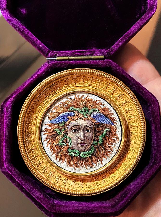 Medusa Head Castellani micromosaic brooch Photo @levi_higgs/Instagram
