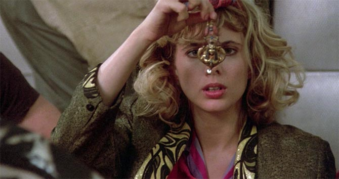 Rosanna Arquette at the moment when she discovers the second Nefertiti earring among Madonna's possession in 'Desperately Seeking Susan.' Photo Orion Pictures