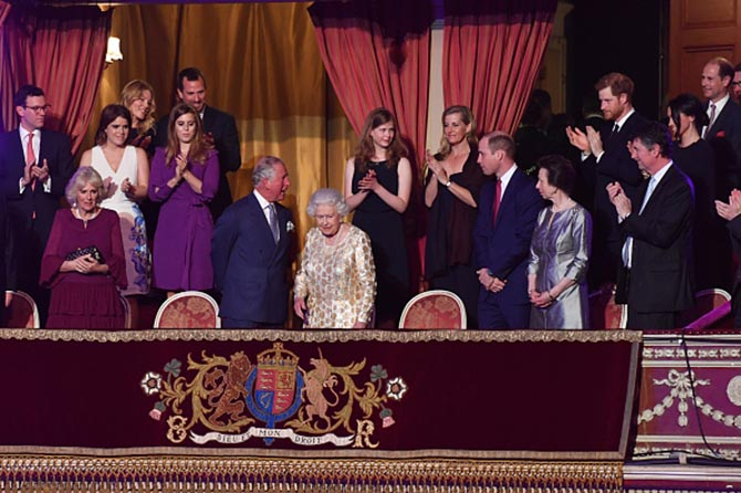 Meghan Markle and Prince Harry on the right among other members of the royal family including Prince Charles and Prince William and Queen Elizabeth for a concert at Royal Albert Hall celebrating the Queen's 92nd birthday. Photo Getty