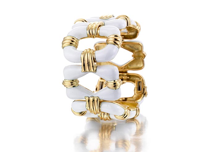 David Webb white enamel and gold bracelet featured in the Bonhams April 17 Fine Jewelry auction. Photo Bonhams