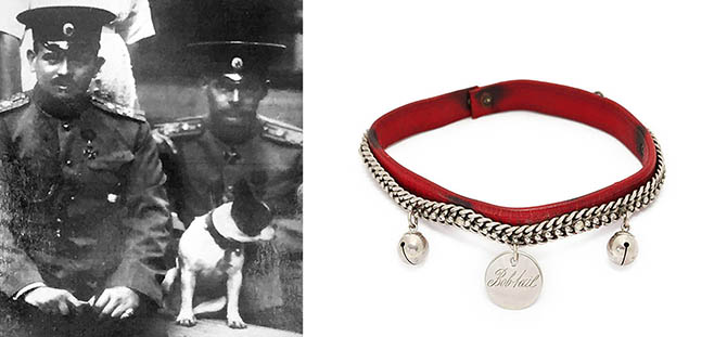 "Fabergé Dog Collar Internal diameter: 5 in. Collar for dog belonging to Grand Duchess Olga with photo of Bobtail and GD Olga. Red leather collar with metal bells and tag inscribed ""Bobtail,"" the name of the French bulldog who belonged to Grand Duchess Olga, the youngest sibling of Russia's last czar, Nicholas II."