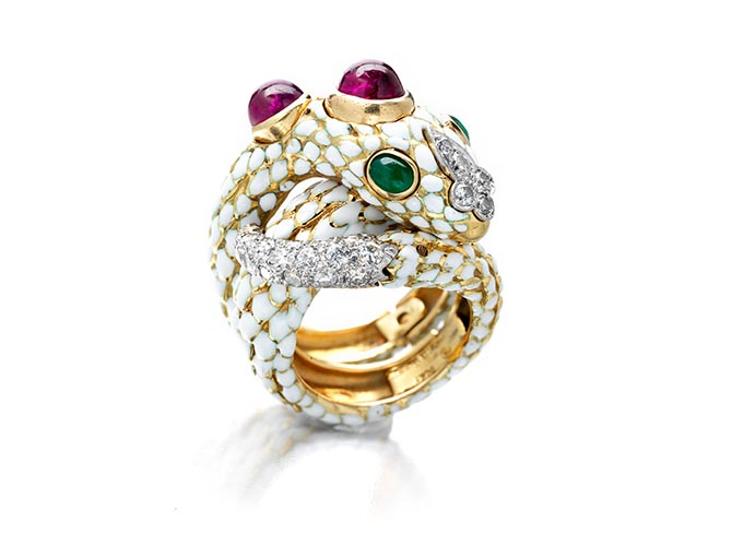 David Webb ruby, emerald, diamond and enamel coiled snake ring featured in the Bonhams April 17 Fine Jewelry auction. Photo courtesy