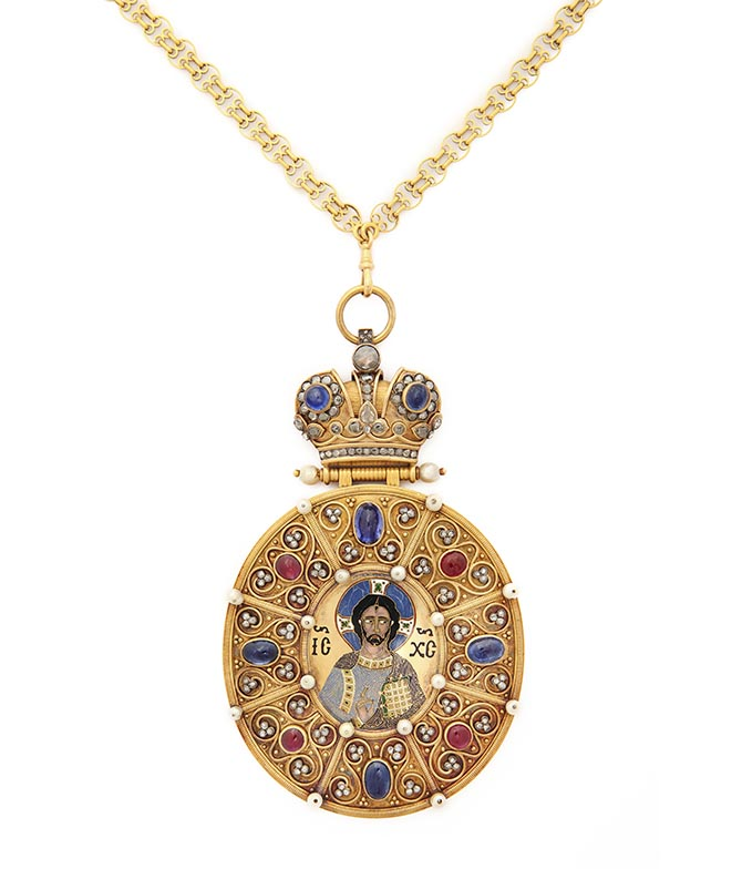 Fabergé Panagia Workmaster Henrik Wigstrom, c. 1910 Gold, diamonds, sapphires, pearls, enamel H 152 mm x W 86 mm; medallion: 44 x 38 mm; chain: 457 mm Wearing a Panagia, or icon pendant, distinguishes an Orthodoz bishop from other clergy. In a setting of gold, diamond, sapphires and pearls, this fine cloisonné enamel medallion of Christ Pantocrator is based on an 11th-century Byzantine image now in New York's Metropolitan Museum of Art.