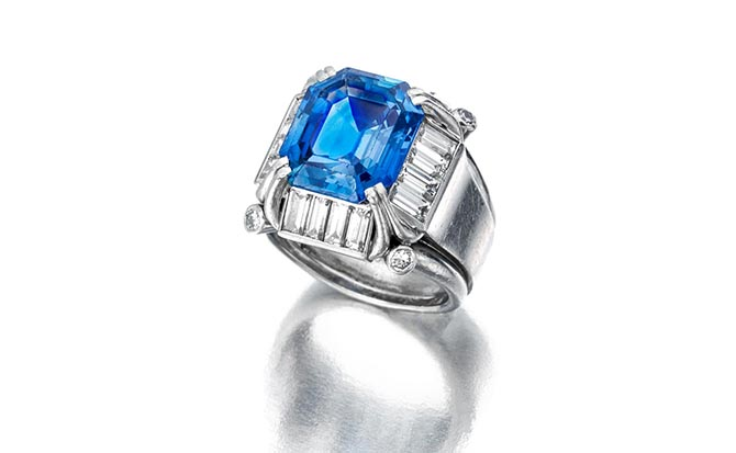 124: A sapphire and diamond ring Photo Bonhams