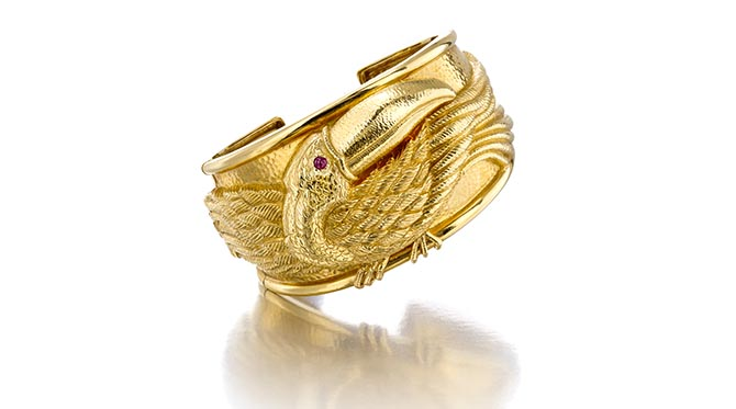 David Webb 18K Gold and ruby cuff bracelet featured in the Bonhams New York April 17 Fine Jewelry auction. Photo courtesy