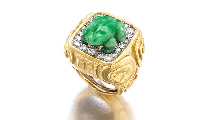 David Webb jadeeite jade, diamond and gold ring featured in Bonhams April 17 Fine Jewelry auction. Photo Bonhams
