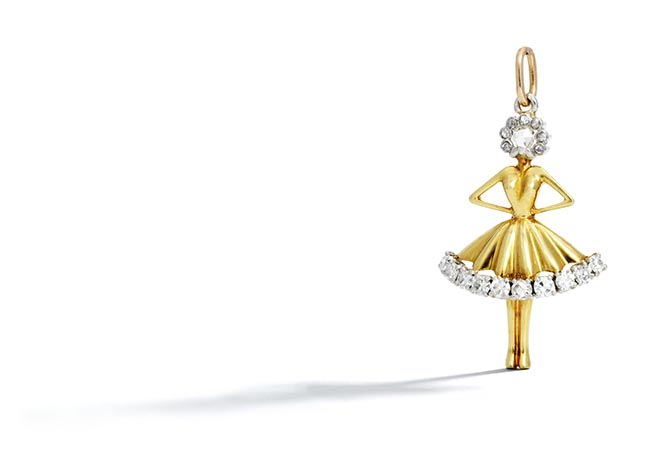 "Lot 61 A platinum, 18K gold and diamond ""Danseuse"" pendant by Van Cleef & Arpels, circa 1950 Photo Bonhams"