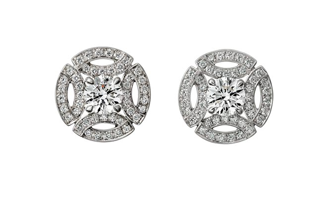 The Galanterie de Cartier studs by Cartier are composed of white gold and diamonds. Photo via Cartier