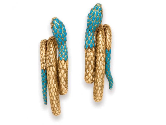 Maria Felix's gold and turquoise Cartier hoops have ruby eyes. Photo Christie's