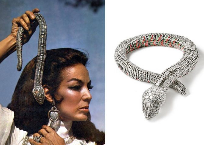 Maria Felix holding her Cartier snake necklace at right Photo via Harper's Bazaar Mexico