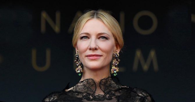 Cate Blanchett is Jury President for this year's film festival wore Chopard's Aphrodite's Garden earrings and the same Giorgio Armani Privé gown she wore to the 2014 Golden Globes.