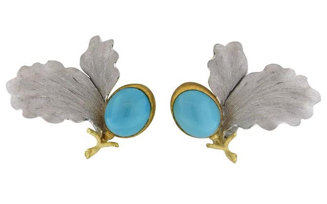Buccellati Turquoise Gold Leaf Earrings from Oak Gem