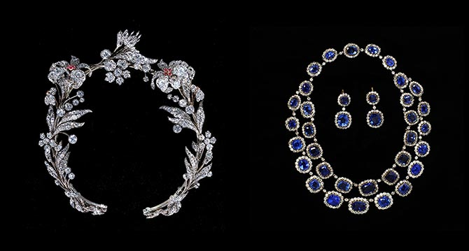 Nineteenth century ruby floral tiara and sapphire and diamond necklace and earrings from the Victoria & Albert Museum. Photo Victoria & Albert Museum