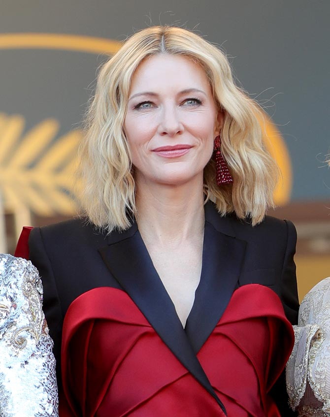 Cate Blanchett in Chinese Knot ruby earrings by Chopard and Alexander McQueen