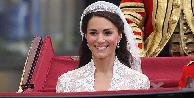 Her Royal Highness Catherine, Duchess of Cambridge wearing the Cartier Halo tiara on her wedding day. Photo Dan Kitwood/Getty Images