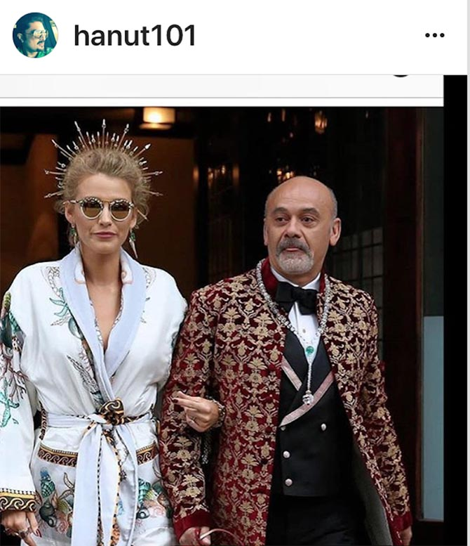 Jewelry designer Hanut Singh found this fabulous shot of Blake Lively before she put on her gown with her escort for the evening Christian Louboutin wearing his prayer bead Mala necklace composed of rock crystal, enamel, melon-cut hydra, onyx and diamonds.