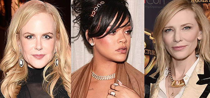 Nicole Kidman, Rihanna and Cate Blanchett all wore cameo jewels in April, 2018. Photo via @leightonjewels/Instagram, @badgalriri/Instagram and Getty