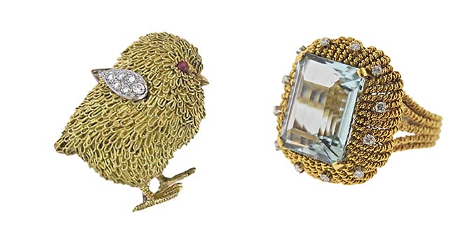 Tiffany & Co France Gold Platinum Diamond Ruby Chick Brooch from DK Bressler & Co and Aquamarine Diamond Gold Cocktail Ring from Rick Shatz Inc