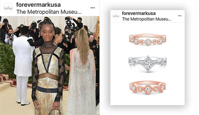 The Forevermark USA Instagram showed the delicate rings Black Panther star Letitia Wright wore in a photo series.