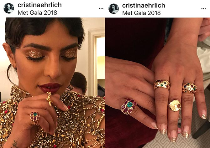 Cristina Ehrlich's close up shot of Priyanka Chopra's Cartier rings.