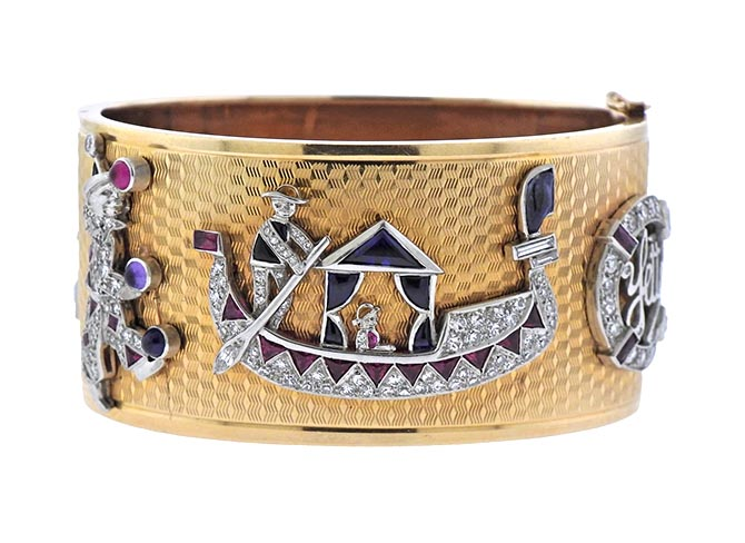Retro gold bangle with diamond charms from Oak Gem at Up On Park