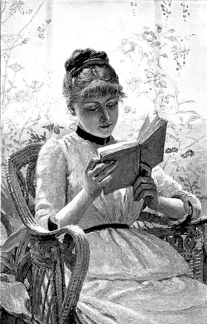 Nineteenth century engraving of a woman reading. Photo Istock