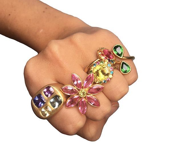Marie-Hélène de Taillac Mondrian ring set with tanzanite and sapphire, Gabrielle ring set with pink sapphire and yellow sapphire, Princess D. ring set with Chrysoberyl and red spinel, Toi et Moi ring set with tsavorite garnet.