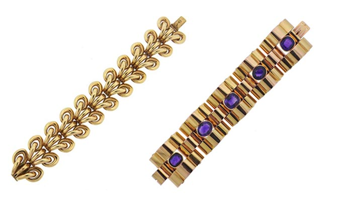 1940s Retro Wide 14k Gold Illusion Bracelet Massive Retro Amethyst Gold Bracelet from Oak Gem at Up On Park