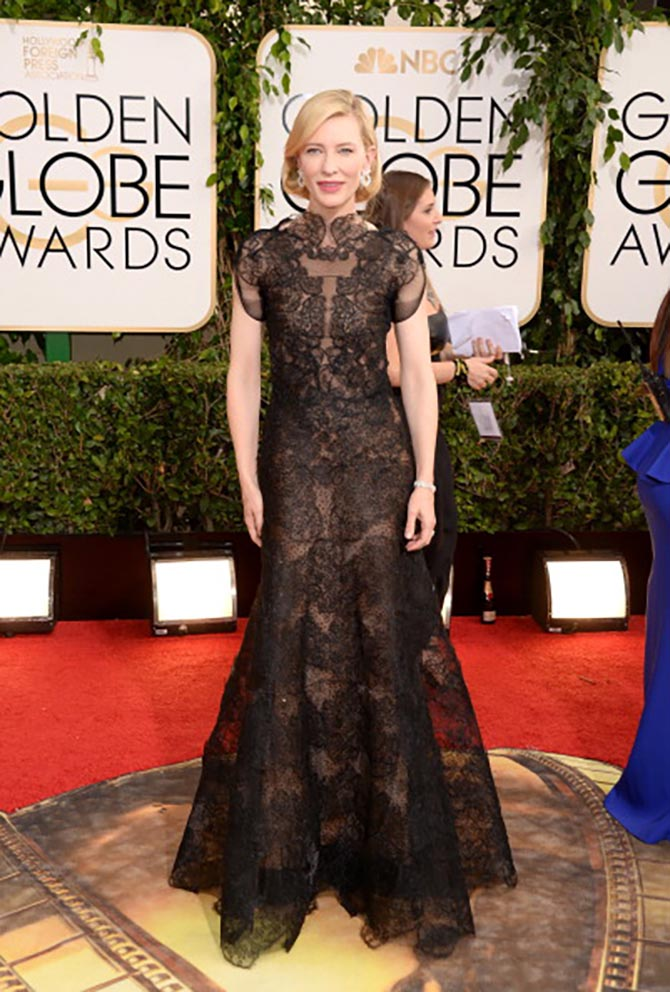 Full look of Cate Blanchett in Armani and Chopard diamond earrings at the 2014 Golden Globes. Photo Getty