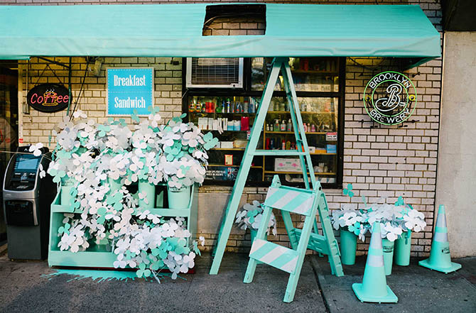 Bodega in Soho decked out in Tiffany Blue. Photo courtesy of Tiffany