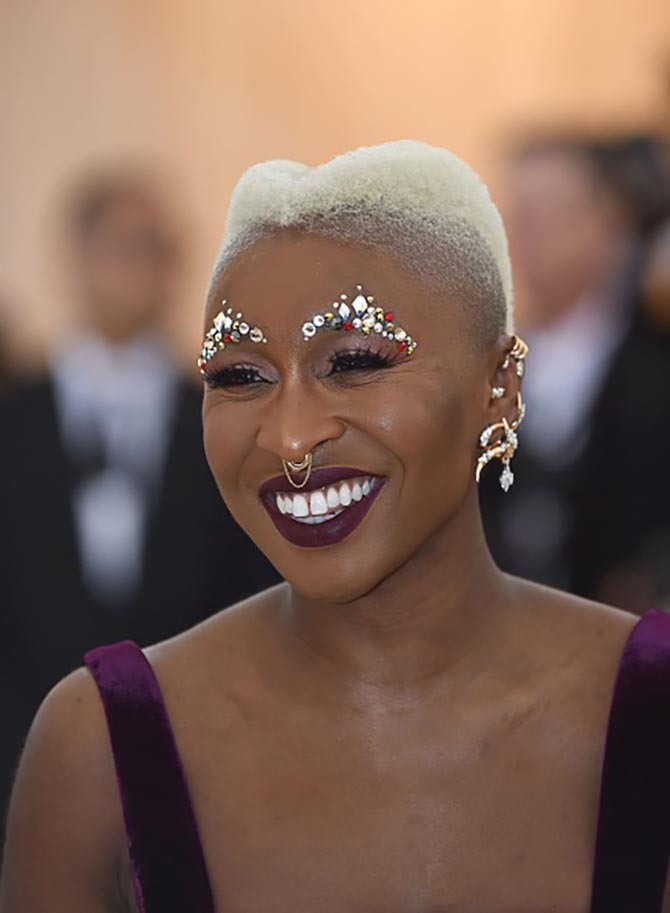 Cynthia Erivo sparkled plenty with a bejeweled brown and layered pieces from designers including Yeprem.
