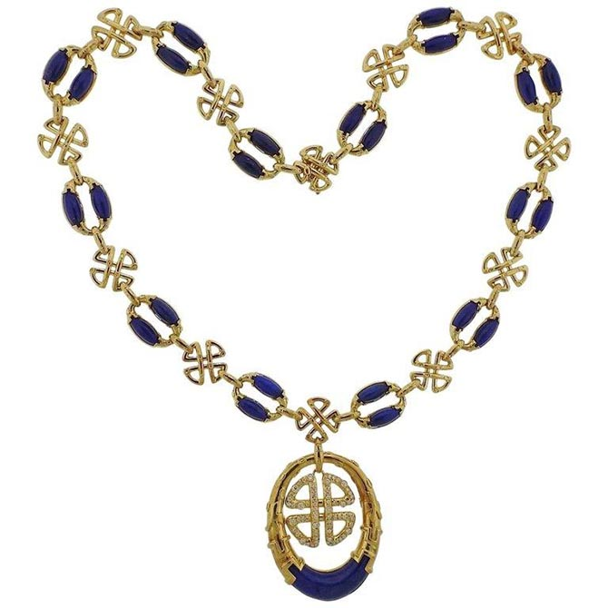 1980s Neiman Marcus Lapis Diamond Gold Pendant Necklace from Oak Gem