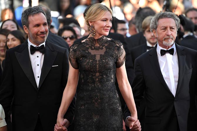 Jury members Denis Villeneuve and Robert Guediguian arrive with Cate Blanchett to the Opening Ceremony of the 71st edition of the Cannes Film Festival Photo Getty Images