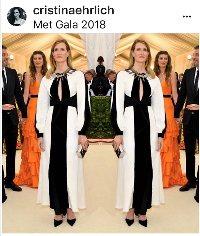 A mirror image of Laura Dern from Cristina Ehrlich's Insta in the Calder necklace.