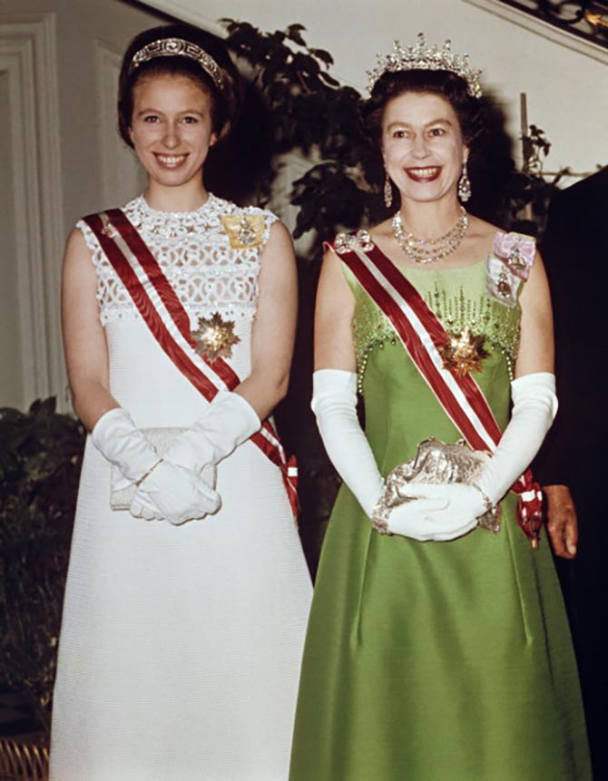Queen Elizabeth II and Princess Anne attend a function at the Hotel Imperial in Vienna, during a State Visit to Austria, 7th May 1969. Photo Getty