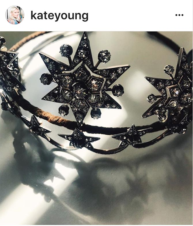Kate Young's arty shot of one of the two tiaras she styled on Sienna Miller from Fred Leighton.