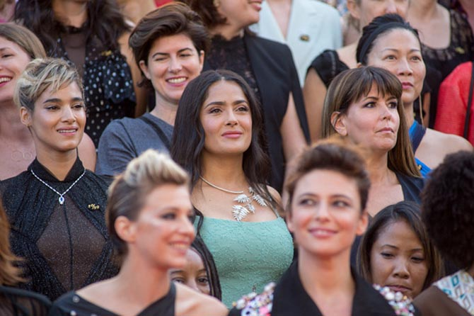 Sofia Boutella in a Bulgari necklace, Salma Hayek in a Boucheron diamond question mark necklace and 'Wonder Woman' director Patty Jenkins.