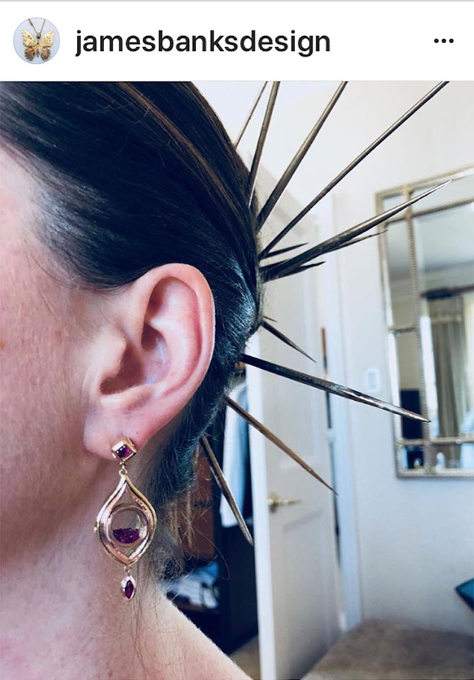 Detail shot from the James Banks Instagram of the custom earrings Anne Hathaway wore.