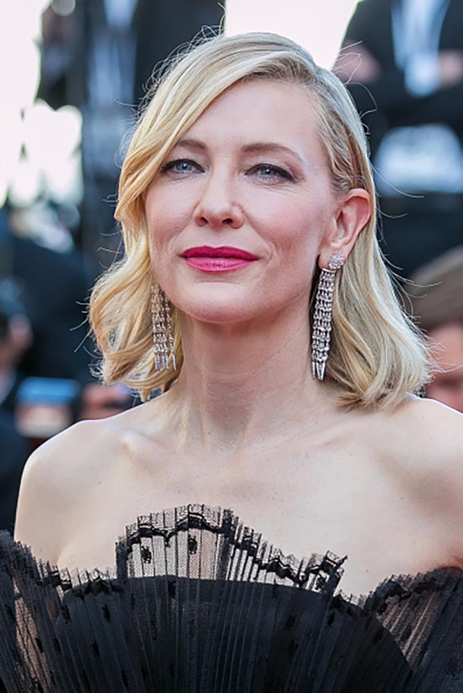Cate Blanchett in Chopard diamond earrings and a Givenchy ensemble.