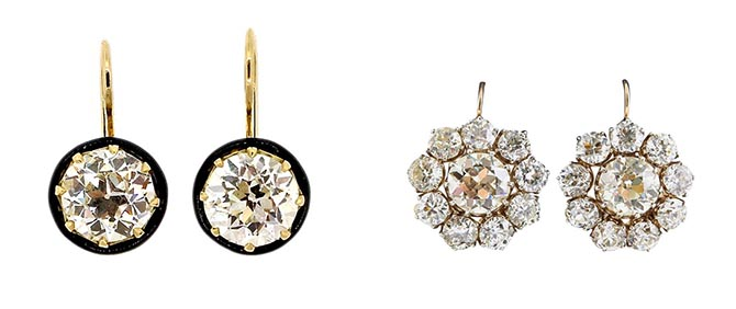 Georgian White Topaz Earrings from Odeon, Victorian Diamond Cluster Earrings from Eric Originals at Up On Park