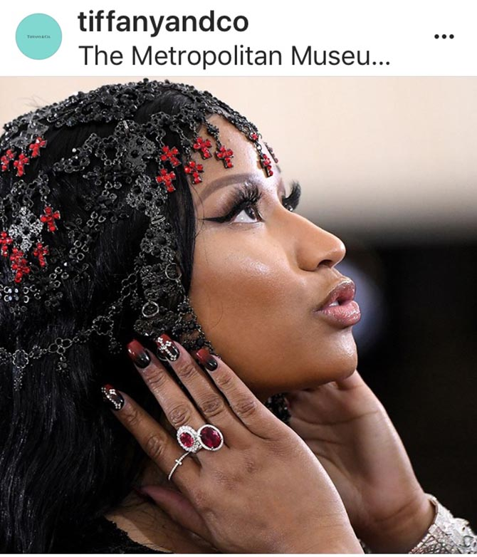 A close up of Nicki Minaj on the Tiffany Instagram not only showed her gorgeous Tiffany jewels it also gave a detailed look at the star's amazing manicure and hair ornament.