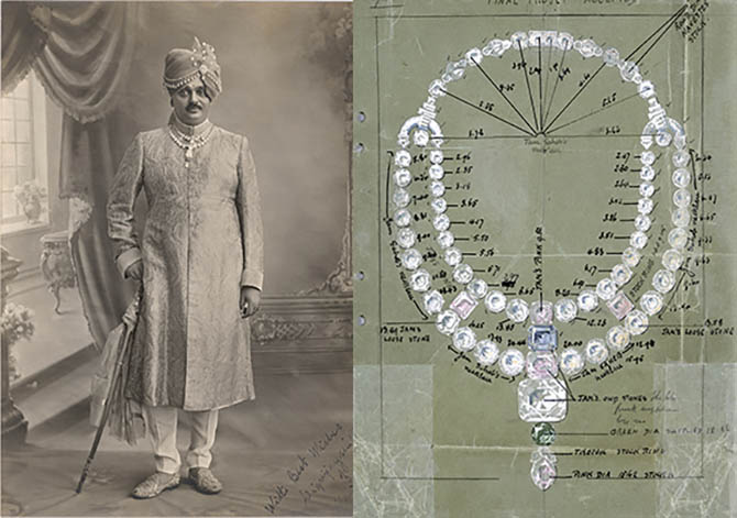 The Maharajah of Nawanagar wearing the ceremonial necklace by Cartier-London in the drawing at right that inspired the necklace in 'Ocean's 8'. Photo Cartier Archives London © Cartier