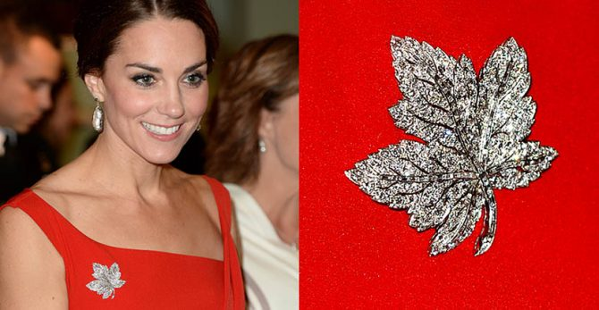 The Duchess of Cambridge wearing the Queen Mother's diamond Maple Leaf brooch during a 2016 trip to Canada. Photo Getty