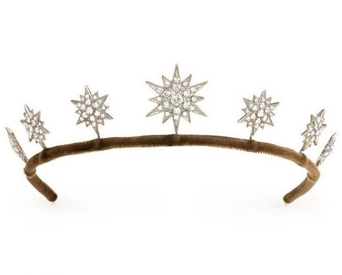 A seven floating star tiara set with brilliant cut Swarovski crystals mounted on a palladium plated bronze frame from Kentshire Photo courtesy