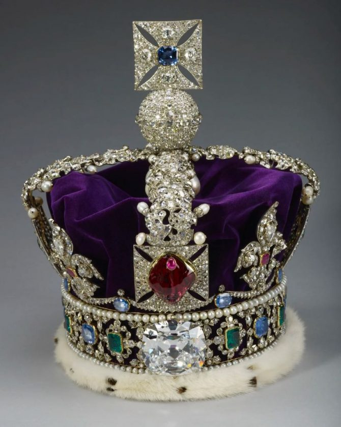 Imperial State Crown of England featuring the Black Prince Ruby at the front. The gem is in fact a spinel. Photo © Royal Collection Trust