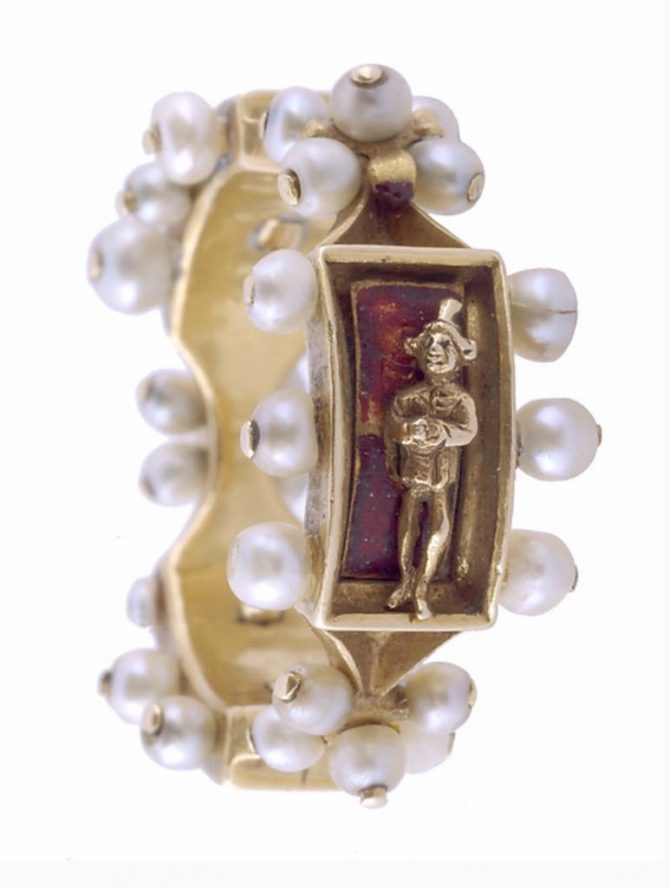 Mid-fifteenth century pearl, enamel and gold Renaissance ring from the Metropolitan Museum of Art Collection at the Cloisters Photo MET Museum