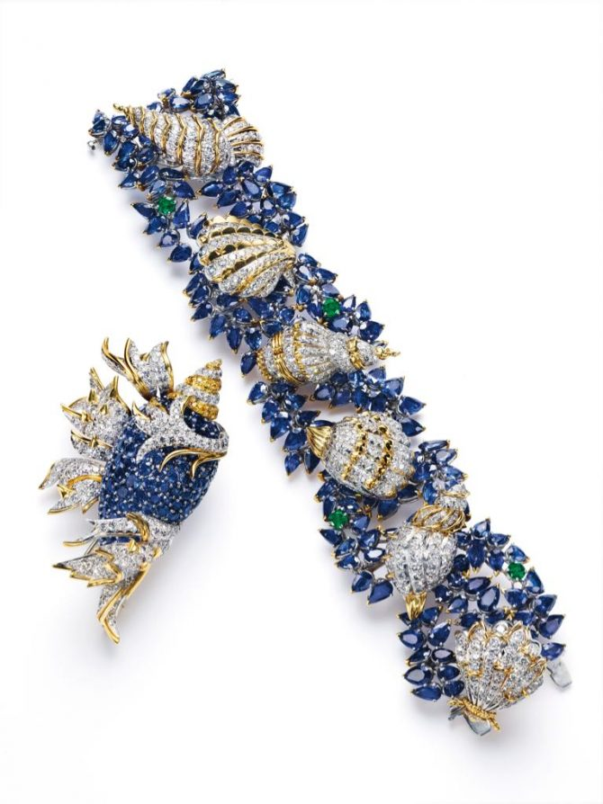 The Tiffany sapphire, diamond, yellow gold and platinum Shell Brooch and bracelet designed by Jean Schlumberger for Peggy Rockefeller around 1957. Photo Christie's