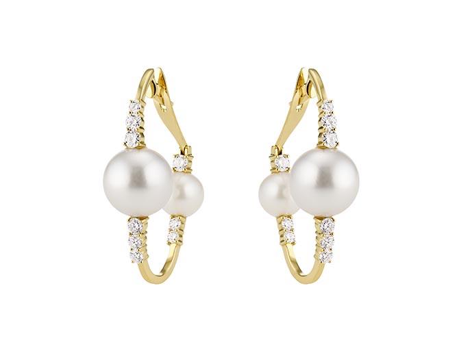 The Hueb diamond and pearl earrings worn by Awkwafina. Photo courtesy