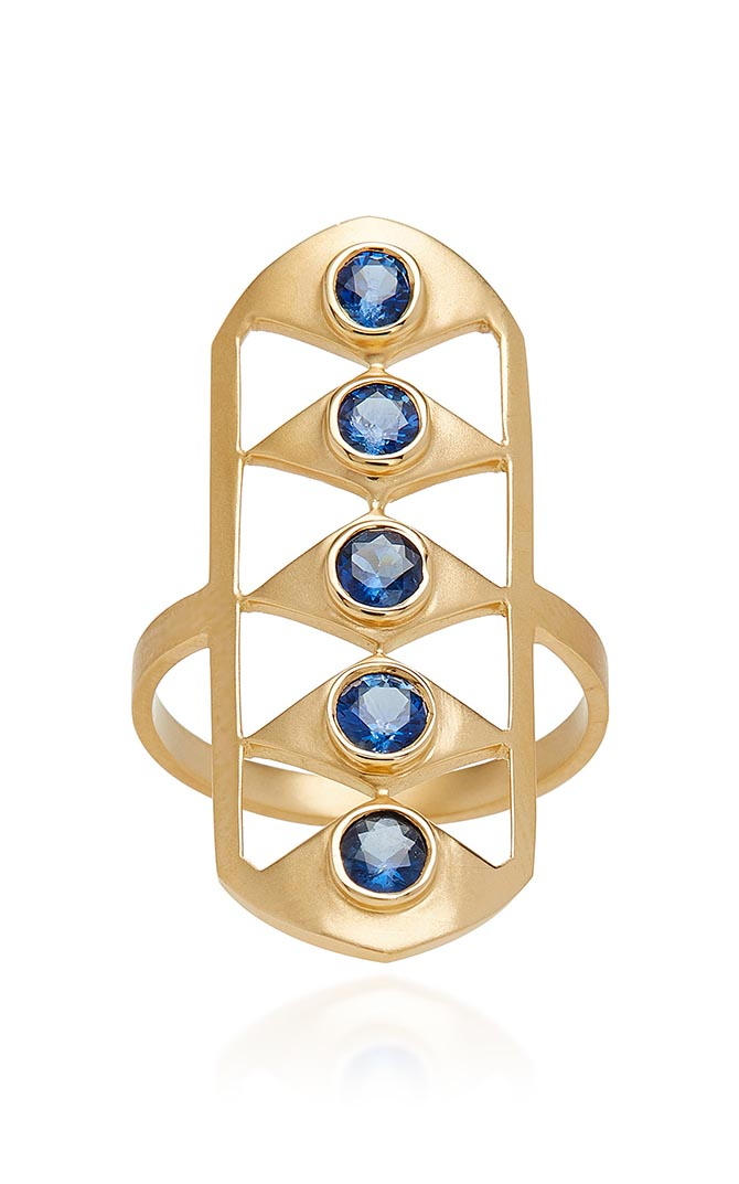 Doryn Wallach blue sapphire and gold Gladiator ring